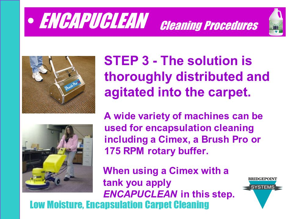 ENCAPUCLEAN Cleaning Procedures. STEP 3 - The solution is thoroughly distributed and agitated into the carpet.