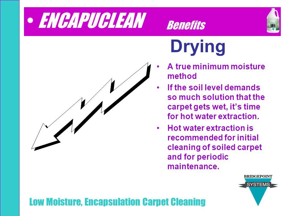 ENCAPUCLEAN Drying Benefits A true minimum moisture method