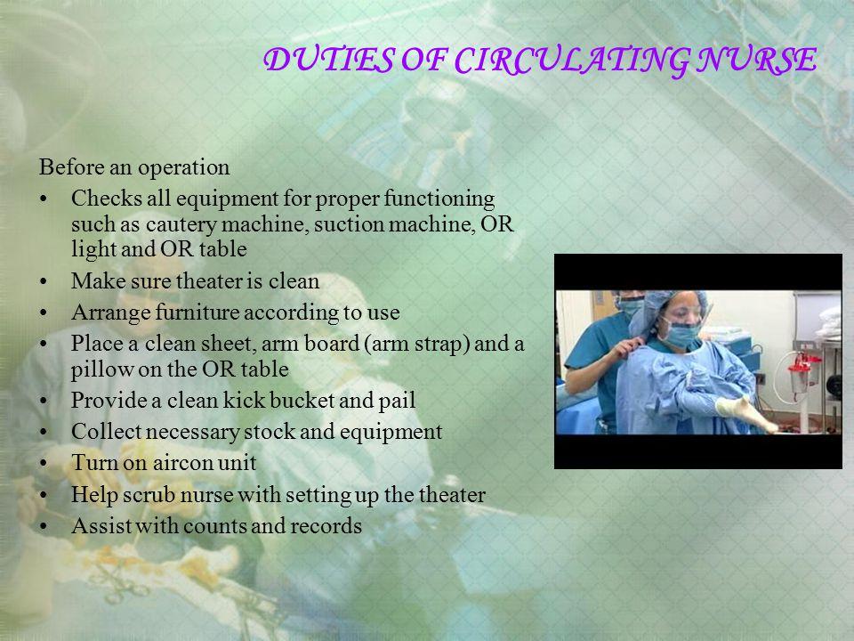 DUTIES OF CIRCULATING NURSE