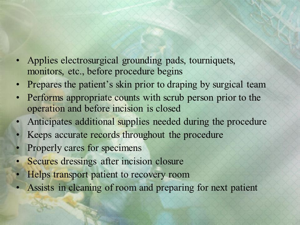 Applies electrosurgical grounding pads, tourniquets, monitors, etc