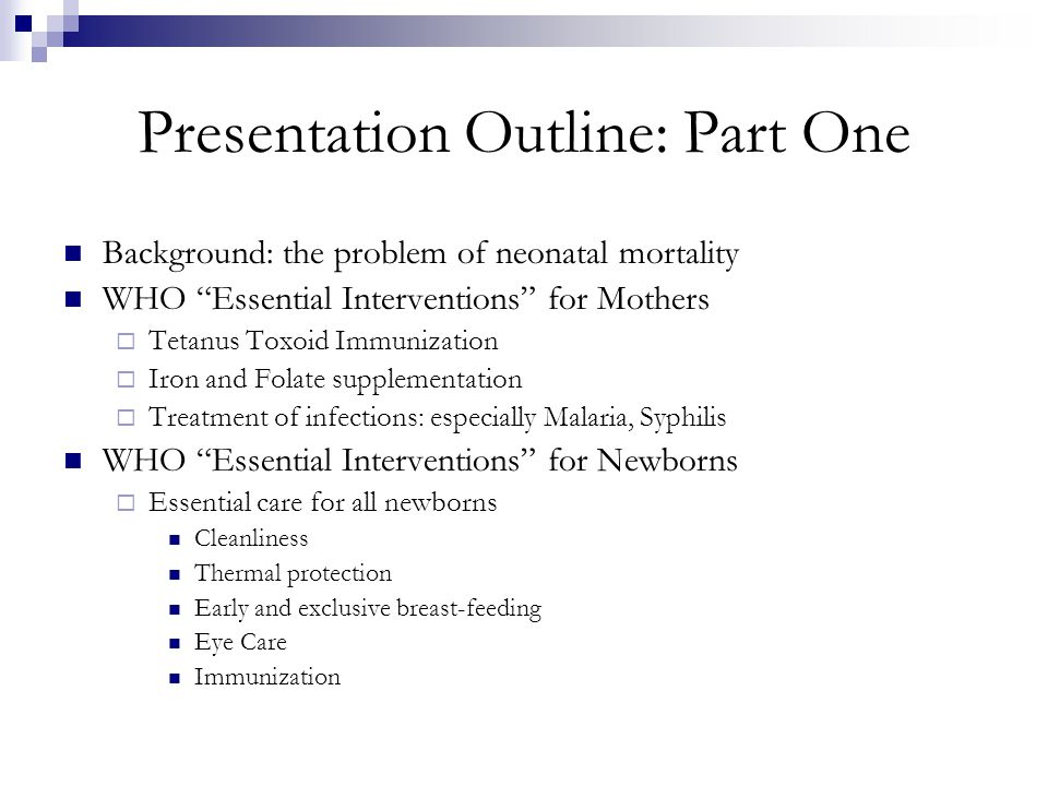 Presentation Outline: Part One