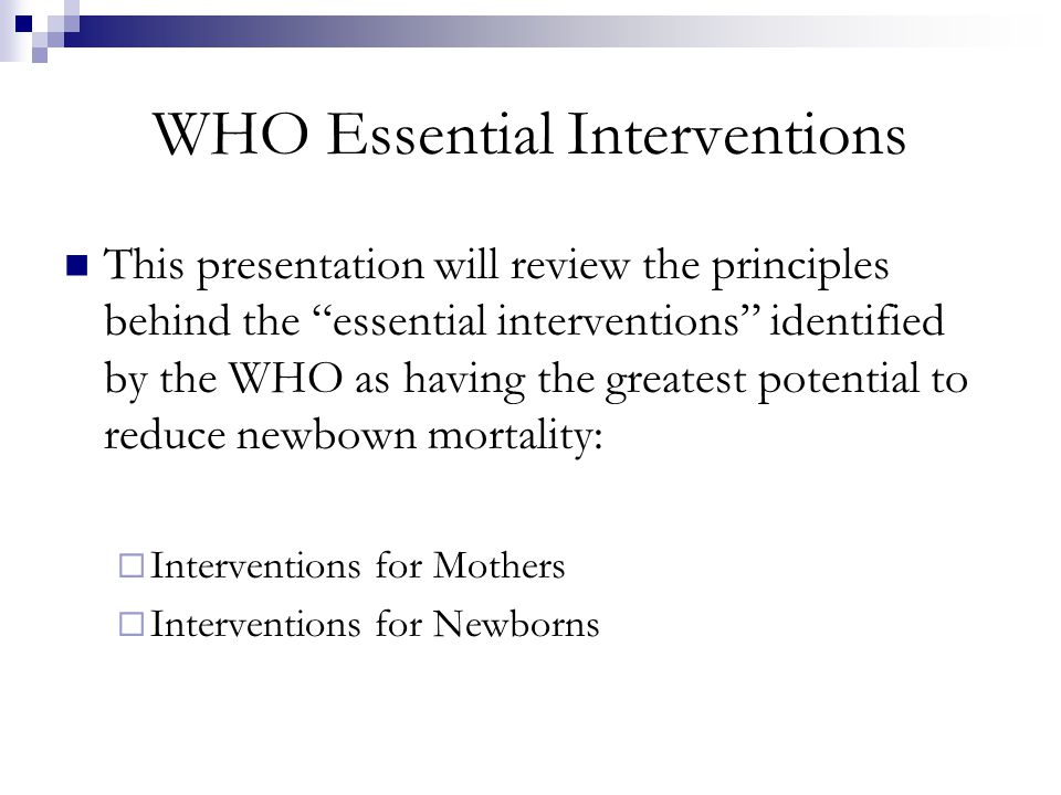 WHO Essential Interventions