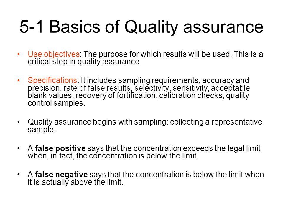 5-1 Basics of Quality assurance