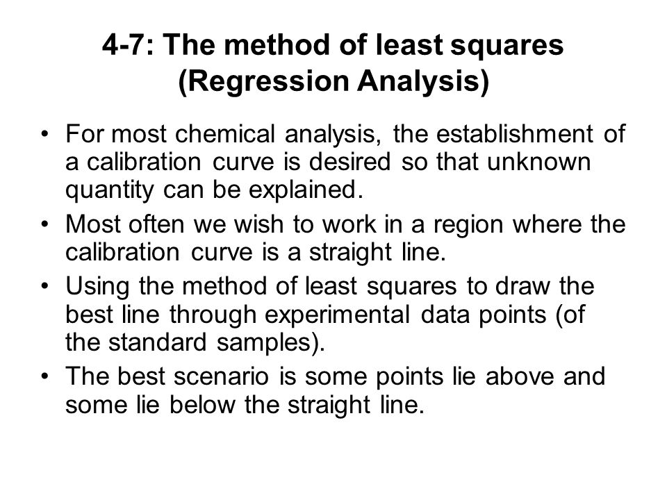 4-7: The method of least squares (Regression Analysis)