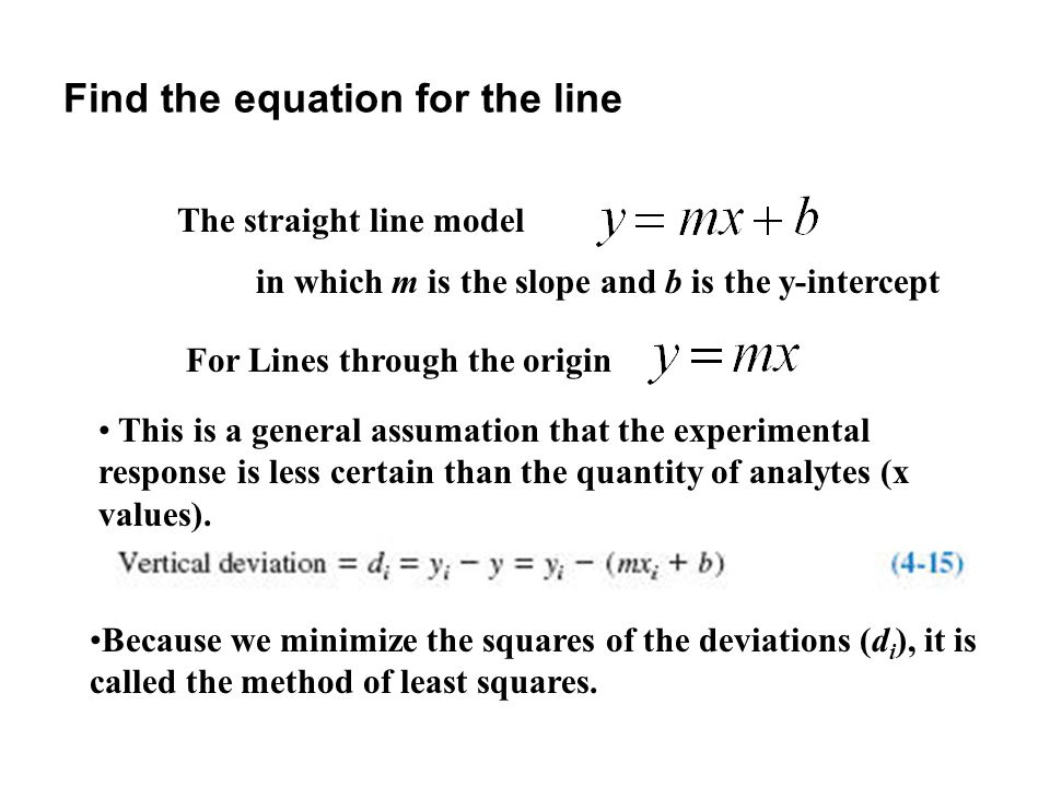 Find the equation for the line