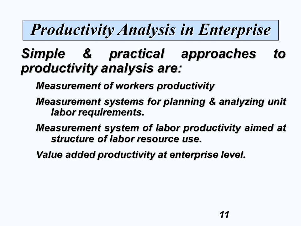 Productivity Analysis in Enterprise