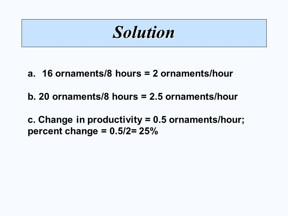 Solution 16 ornaments/8 hours = 2 ornaments/hour