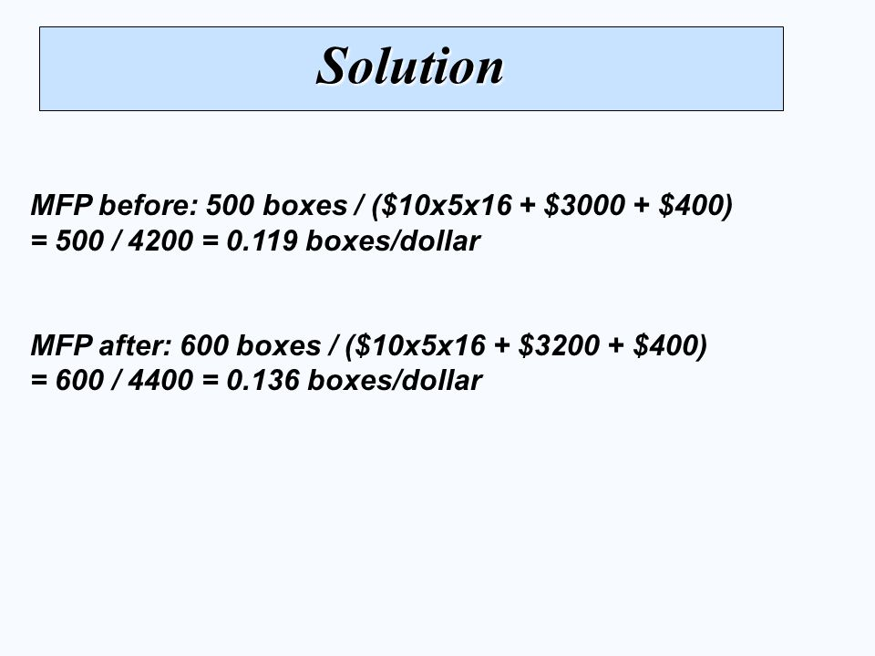 Solution MFP before: 500 boxes / ($10x5x16 + $3000 + $400) = 500 / 4200 = 0.119 boxes/dollar.