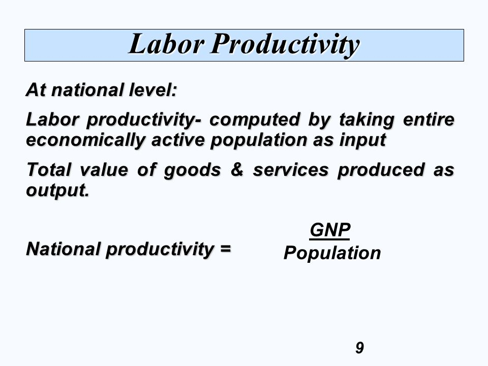 Labor Productivity At national level: