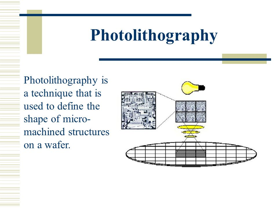 Photolithography Photolithography is a technique that is used to define the shape of micro-machined structures on a wafer.