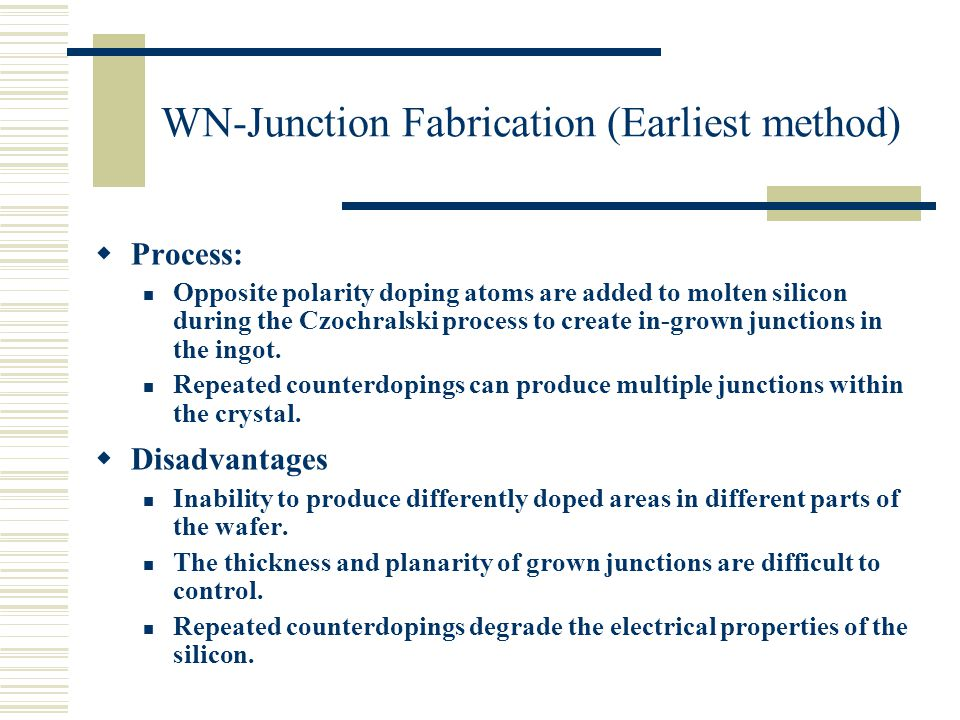 WN-Junction Fabrication (Earliest method)