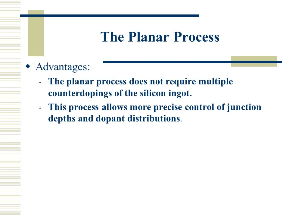 The Planar Process Advantages:
