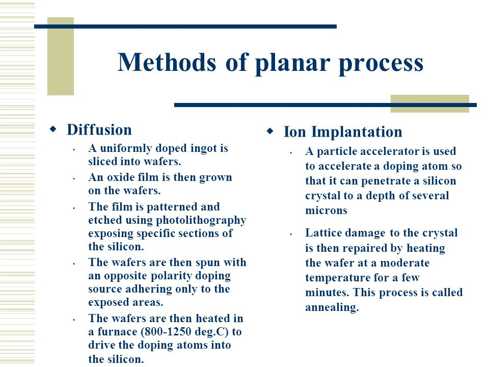 Methods of planar process