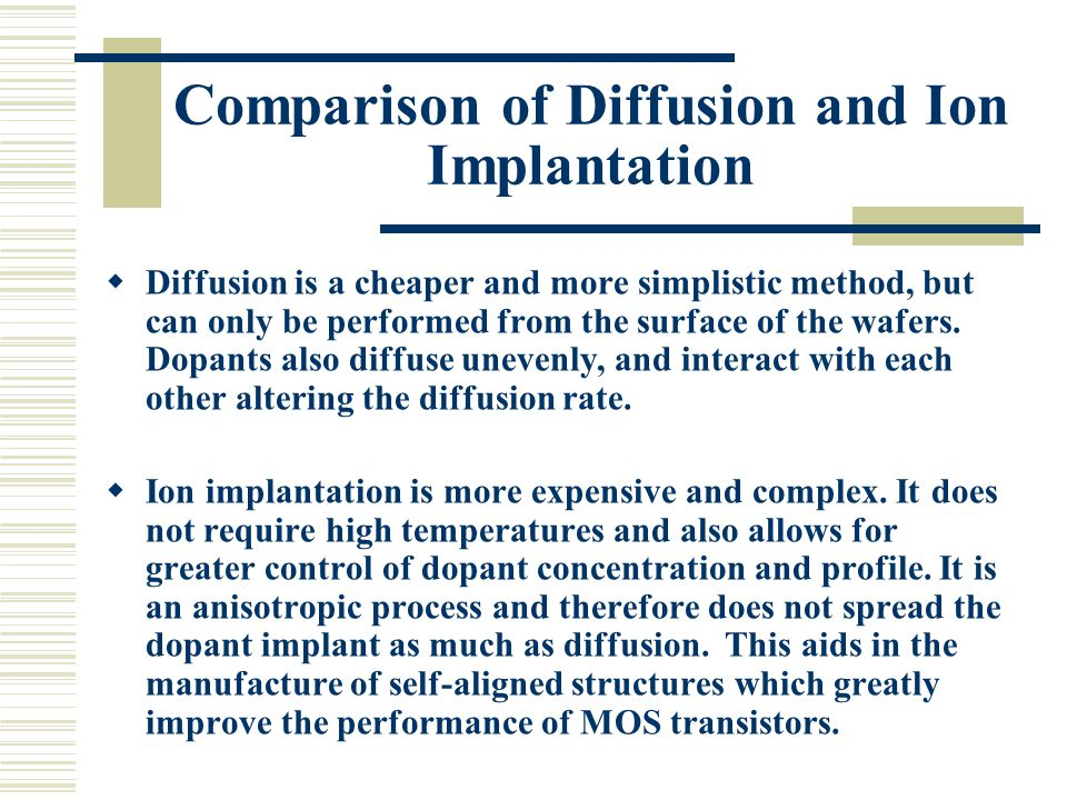 Comparison of Diffusion and Ion Implantation