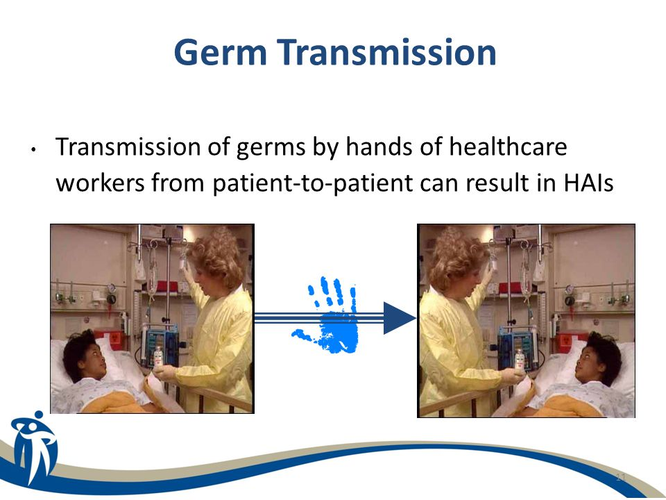 Germ Transmission Transmission of germs by hands of healthcare workers from patient-to-patient can result in HAIs.