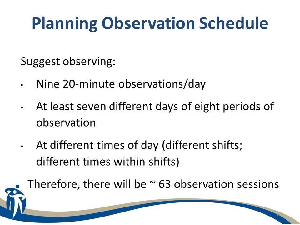 Planning Observation Schedule