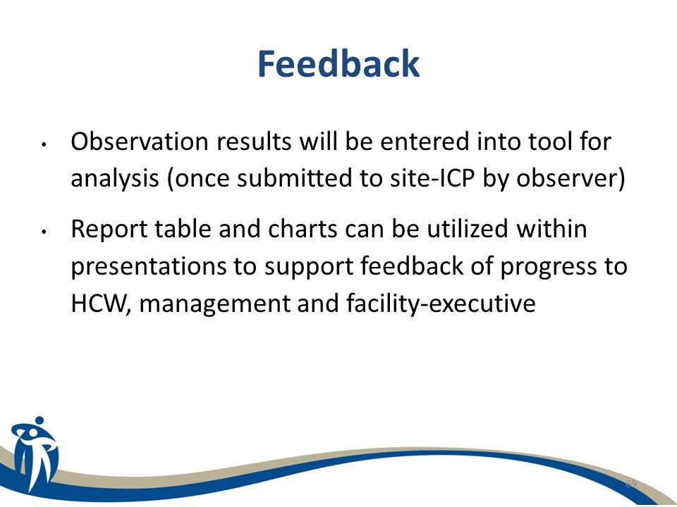 Feedback Observation results will be entered into tool for analysis (once submitted to site-ICP by observer)