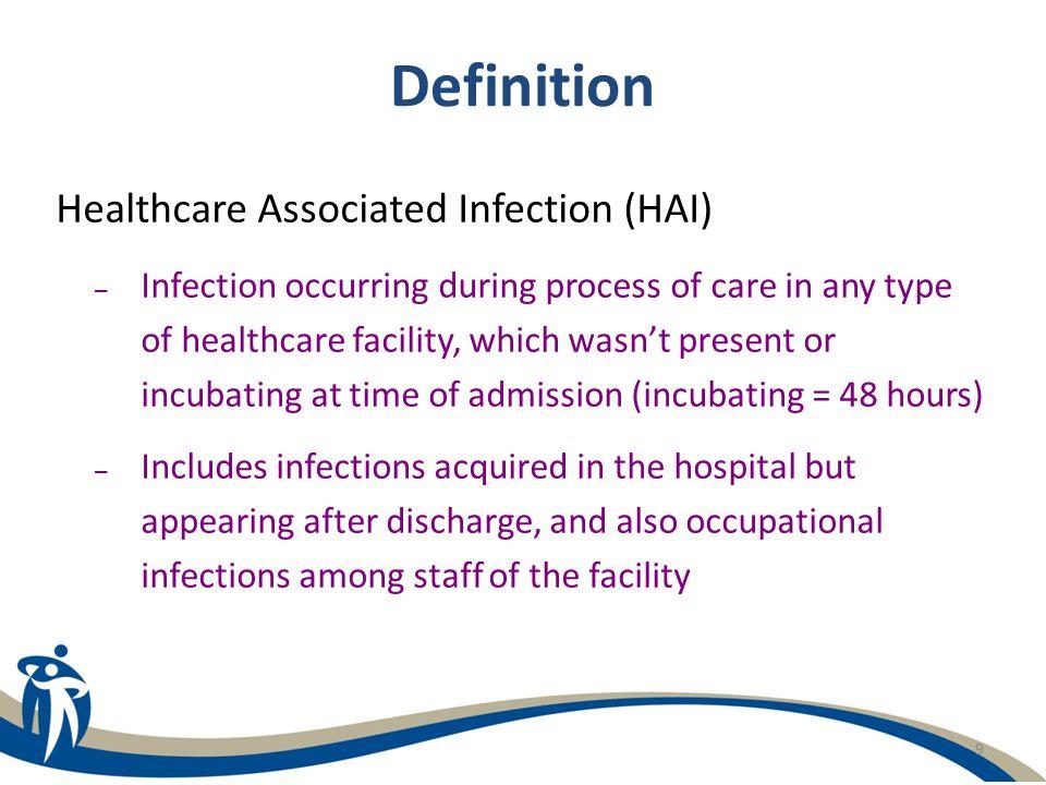 Definition Healthcare Associated Infection (HAI)
