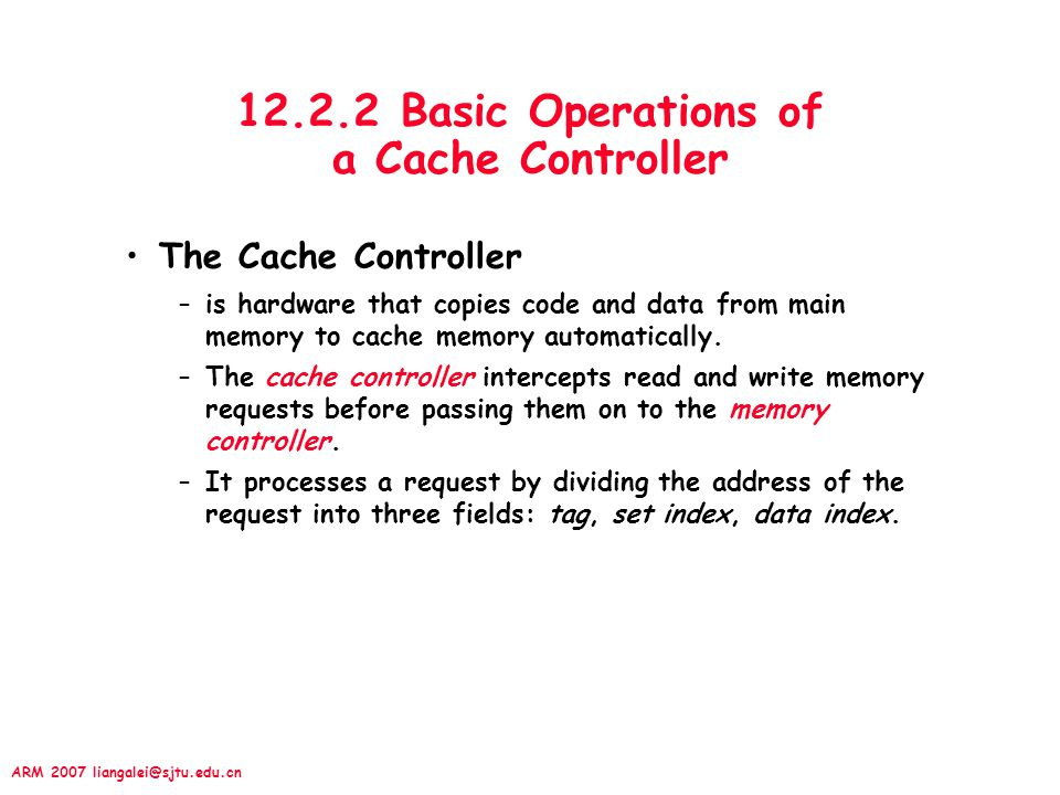 12.2.2 Basic Operations of a Cache Controller