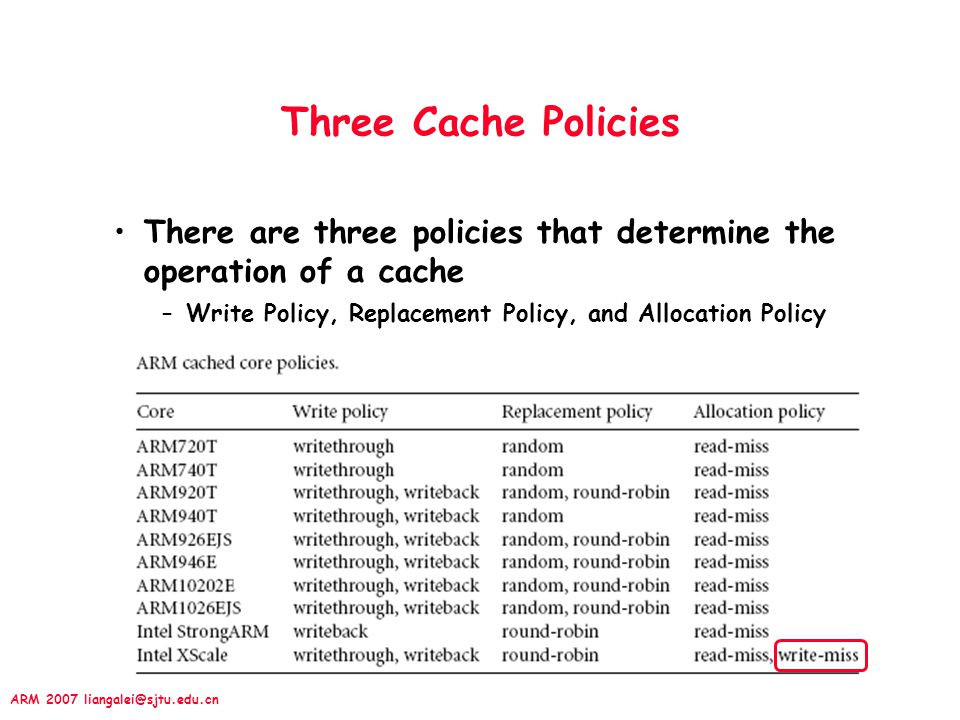 Three Cache Policies There are three policies that determine the operation of a cache.