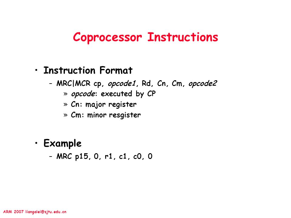 Coprocessor Instructions
