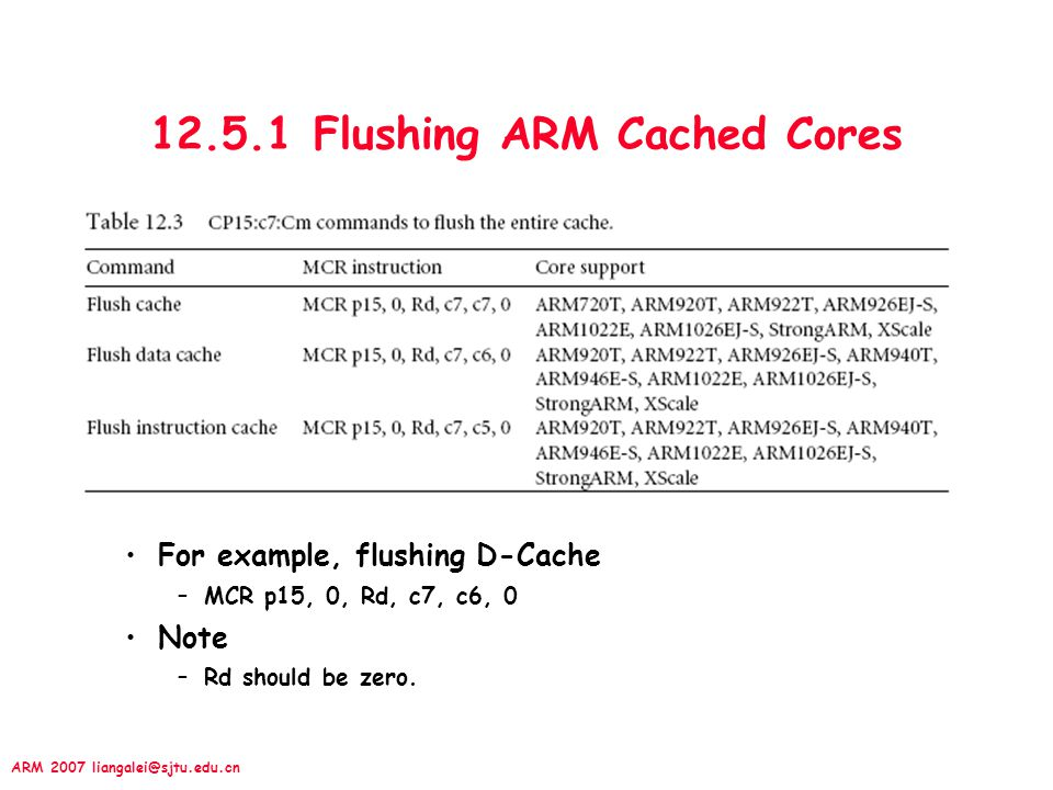 12.5.1 Flushing ARM Cached Cores