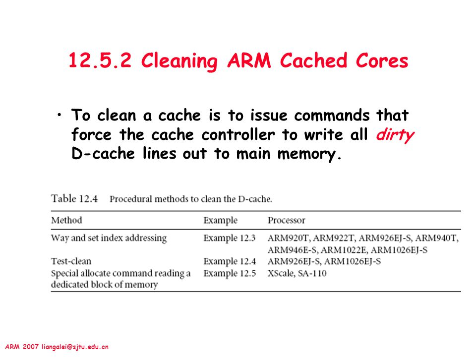 12.5.2 Cleaning ARM Cached Cores