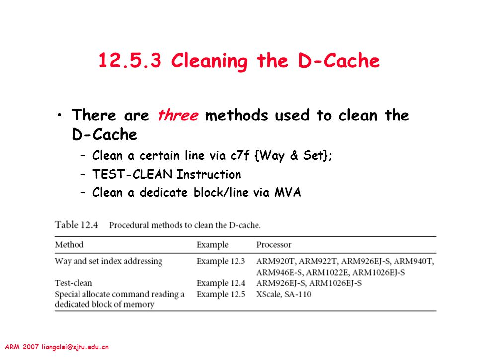 12.5.3 Cleaning the D-Cache There are three methods used to clean the D-Cache. Clean a certain line via c7f {Way & Set};