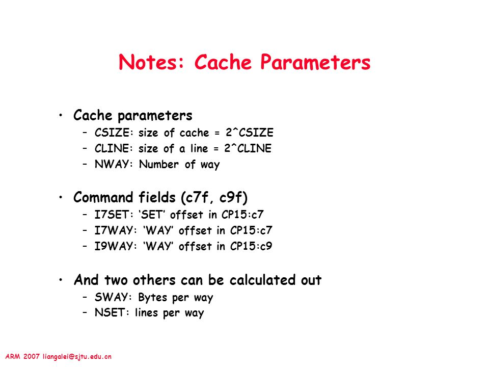 Notes: Cache Parameters