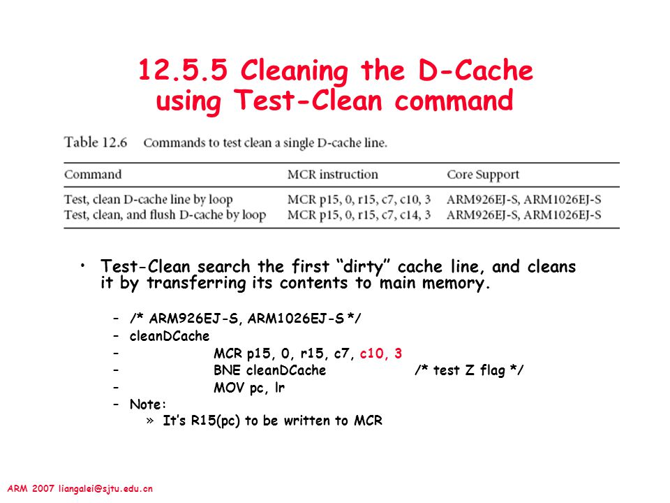 12.5.5 Cleaning the D-Cache using Test-Clean command