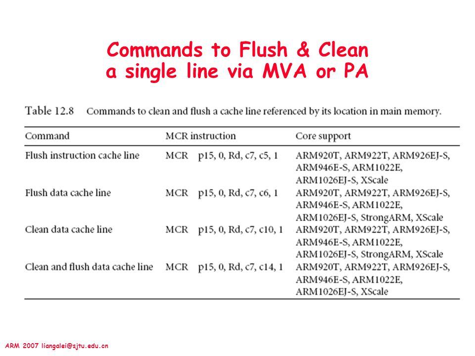 Commands to Flush & Clean a single line via MVA or PA