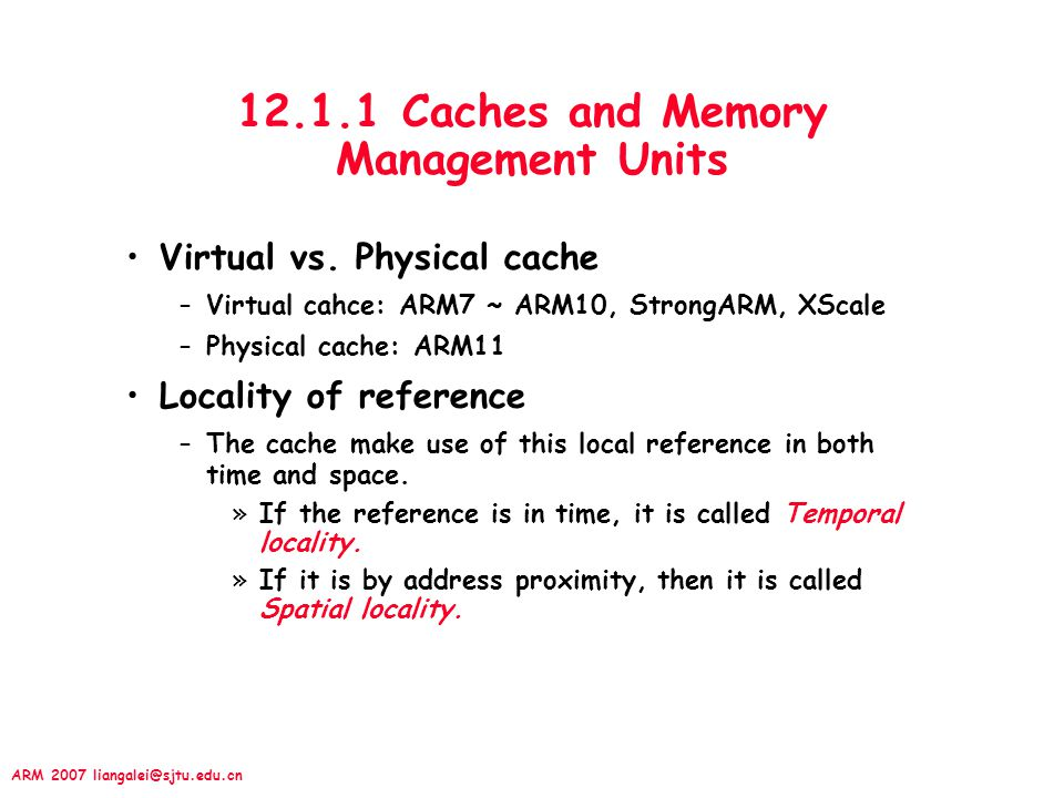 12.1.1 Caches and Memory Management Units