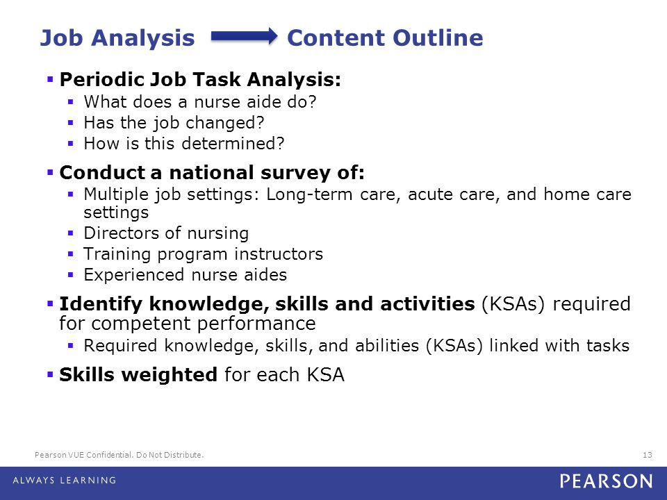 Job Analysis Content Outline