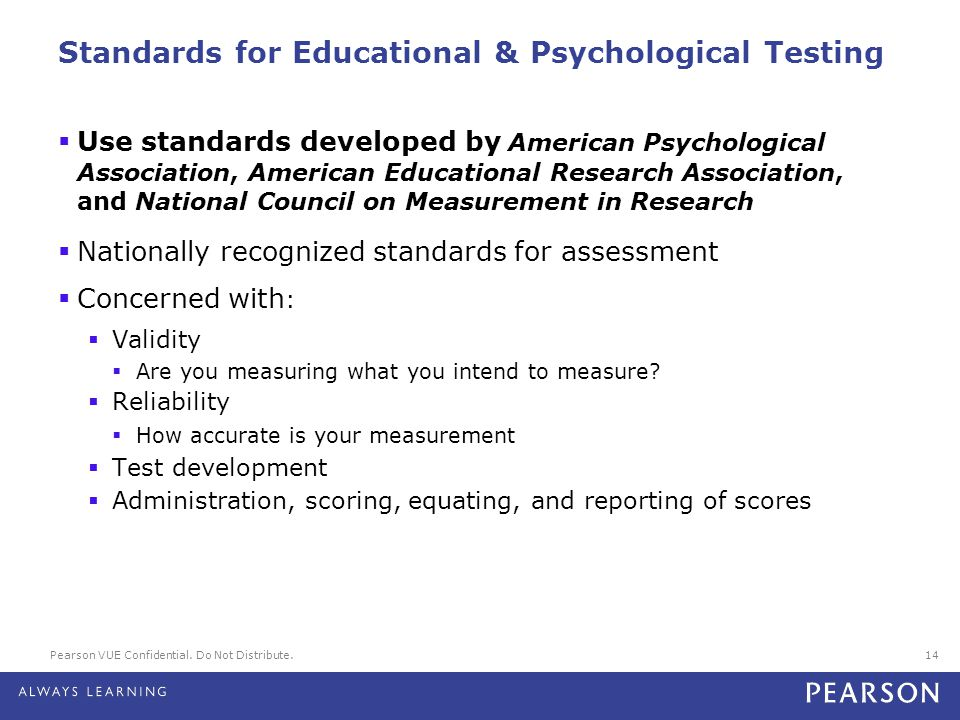 Standards for Educational & Psychological Testing
