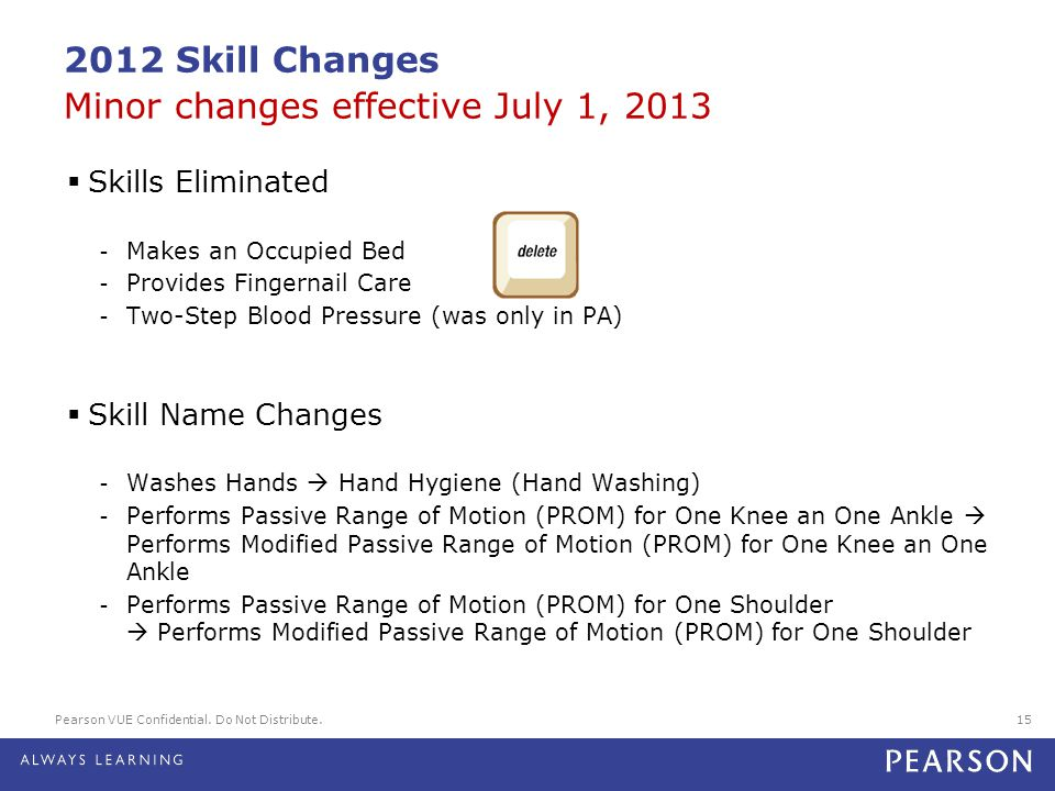 2012 Skill Changes Minor changes effective July 1, 2013