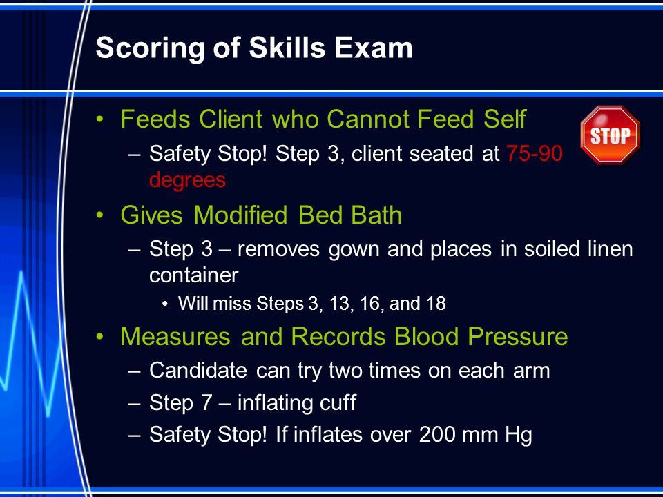 Scoring of Skills Exam Feeds Client who Cannot Feed Self