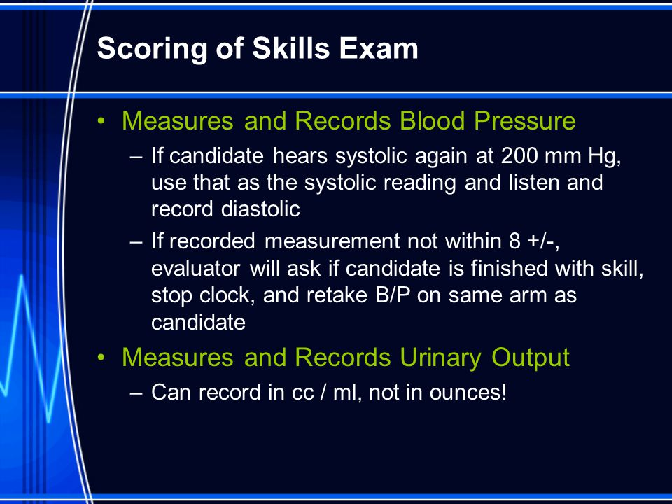 Scoring of Skills Exam Measures and Records Blood Pressure