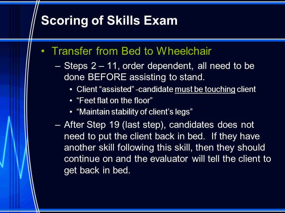 Scoring of Skills Exam Transfer from Bed to Wheelchair