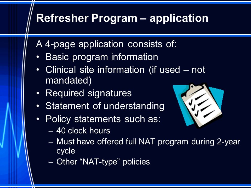 Refresher Program – application