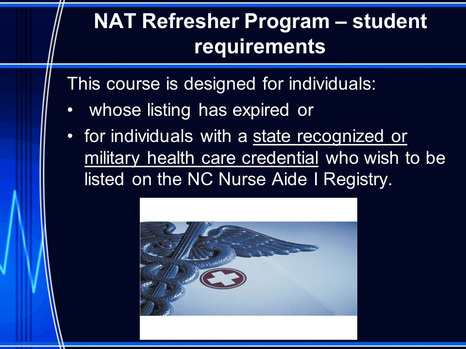 NAT Refresher Program – student requirements