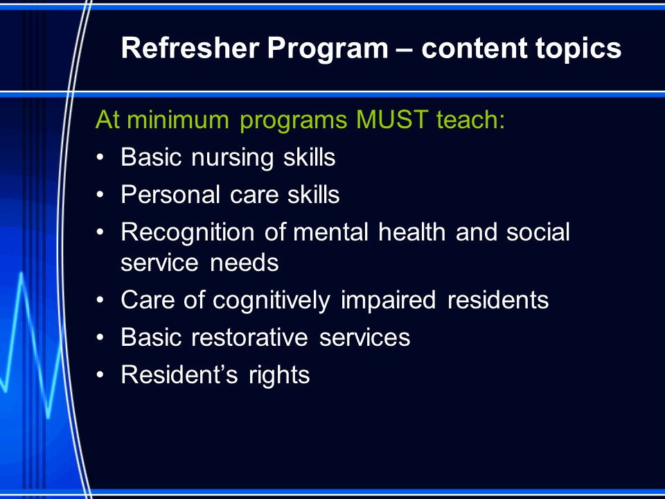 Refresher Program – content topics