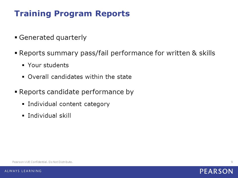 Training Program Reports