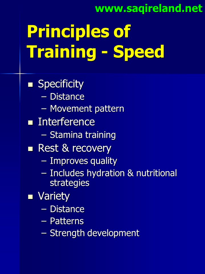Principles of Training - Speed
