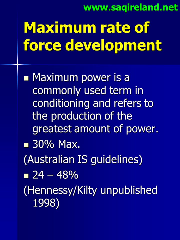 Maximum rate of force development