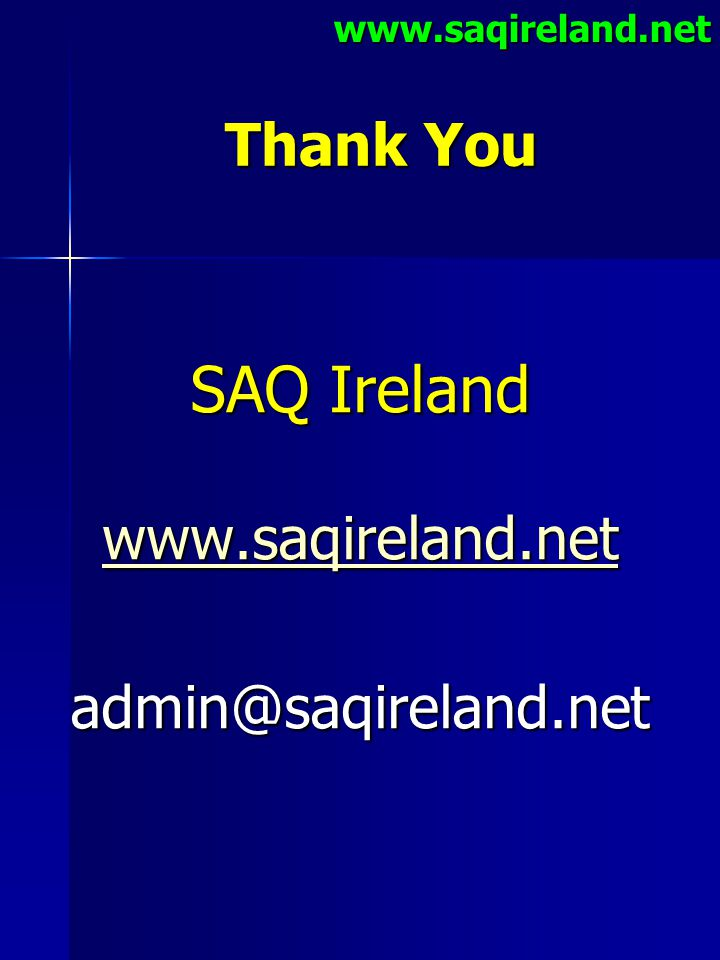 SAQ Ireland Thank You www.saqireland.net admin@saqireland.net
