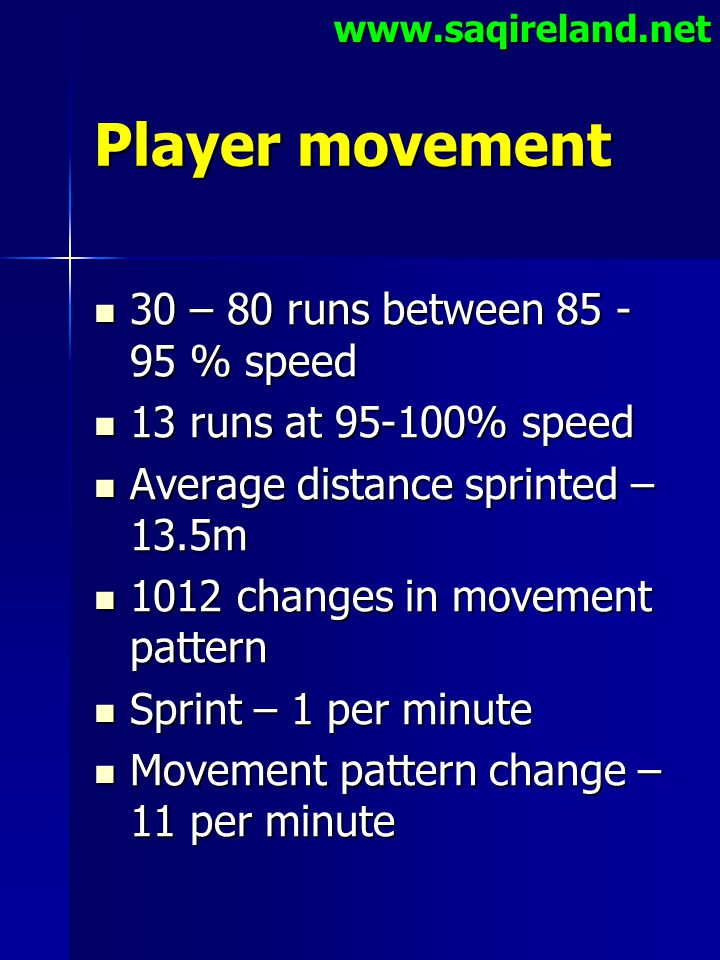 Player movement 30 – 80 runs between 85 -95 % speed