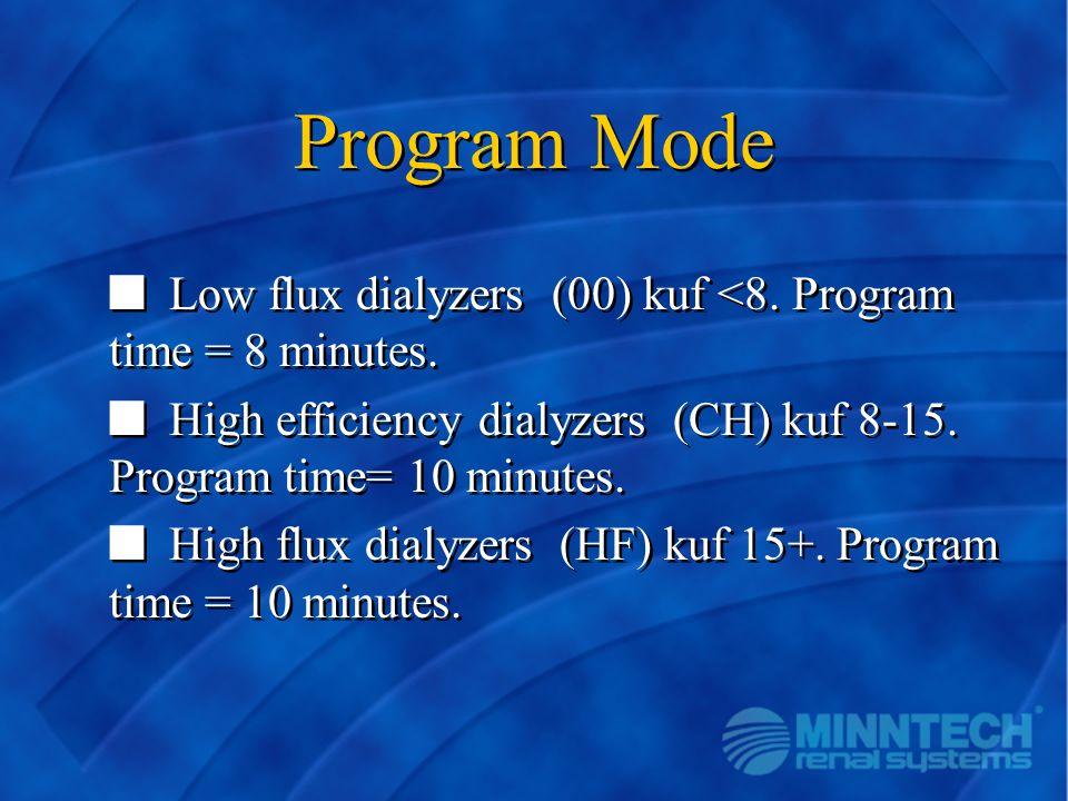 Program Mode Low flux dialyzers (00) kuf <8. Program time = 8 minutes. High efficiency dialyzers (CH) kuf 8-15. Program time= 10 minutes.