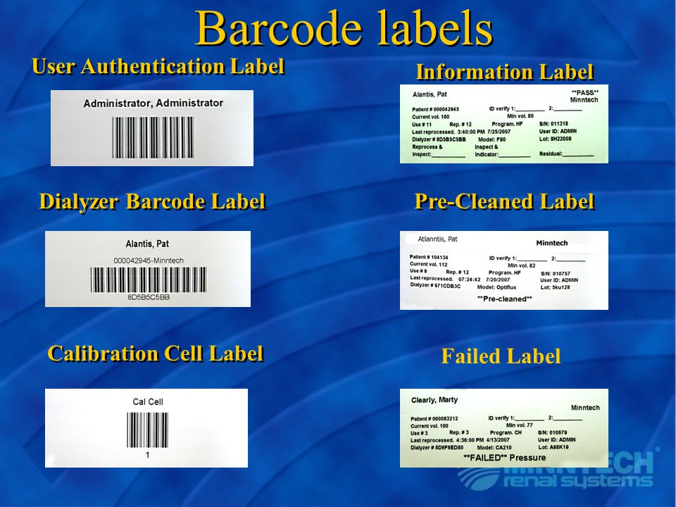 Barcode labels User Authentication Label Information Label