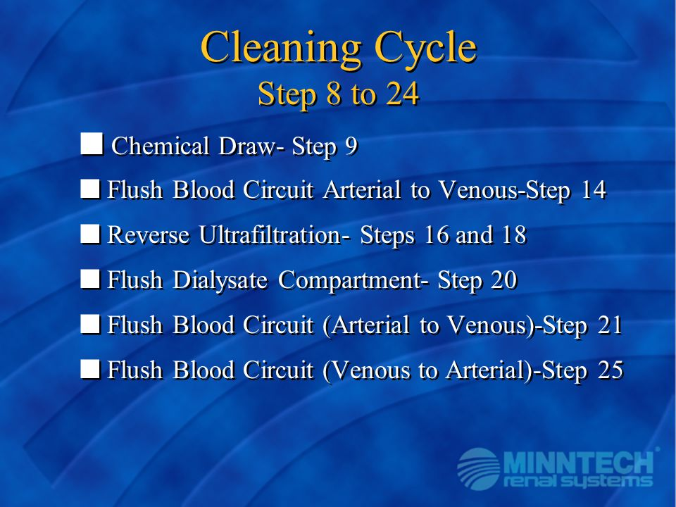 Cleaning Cycle Step 8 to 24 Chemical Draw- Step 9