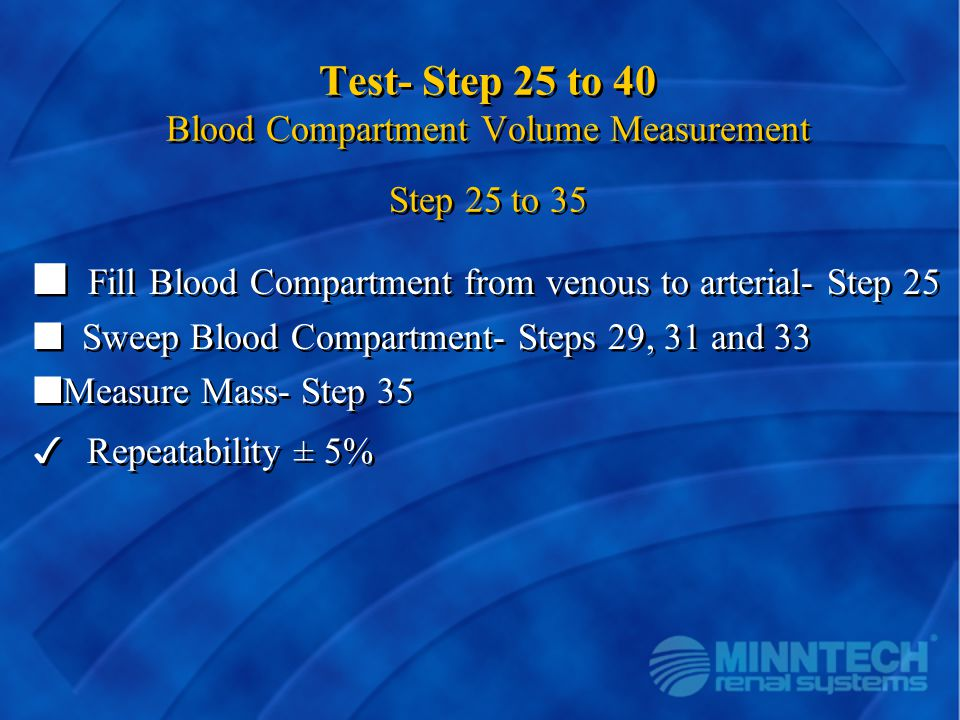 Test- Step 25 to 40 Blood Compartment Volume Measurement Step 25 to 35
